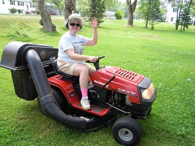 sharon on mower