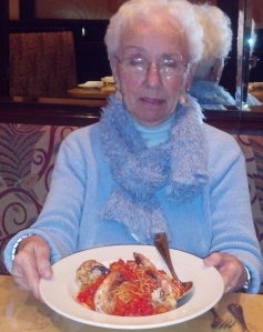 Mom with shrimp and pasta.