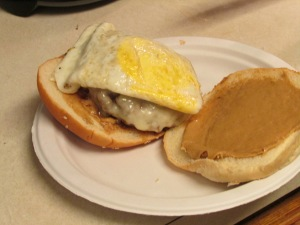 Peanut butter, fried egg cheeseburger = birthday happiness.