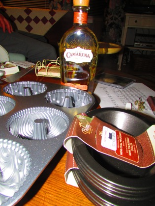 BAKING PANS AND TEQUILA.
