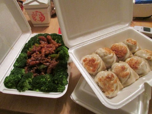 General Tso's Chicken and fried pork dumplings from Golden Chopstix.