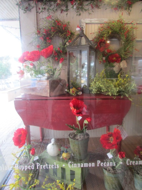 The window of the candy store.  I bought a red basket shaped like a cowboy boot.  Everyone else was jealous.
