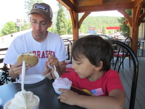 Discovering huckleberry ice cream.