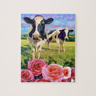 cows smelling roses